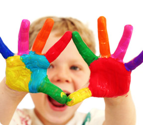 Child with paint all over his hands